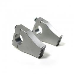 Pontets 28,6mm Alu CNC Gris crantés fixation 1 vis