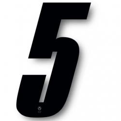 N°5 Numero de plaque YCF Noir - 123x80mm (vendu par 3)