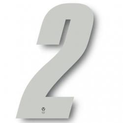 N°2 Numero de plaque YCF Blanc - 123x80mm (vendu par 3)