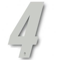 N°4 Numero de plaque YCF Blanc - 123x80mm (vendu par 3)