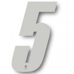 N°5 Numero de plaque YCF Blanc - 123x80mm (vendu par 3)