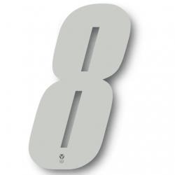 N°8 Numero de plaque YCF Blanc - 123x80mm (vendu par 3)