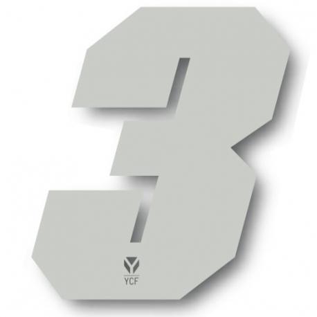 N°3 Numero de plaque YCF Blanc - 108x105mm (vendu par 3)