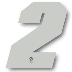 N°2 Numero de plaque YCF Blanc - 108x105mm (vendu par 3)