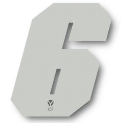 N°6 Numero de plaque YCF Blanc - 108x105mm (vendu par 3)