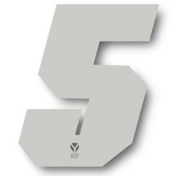 N°5 Numero de plaque YCF Blanc - 108x105mm (vendu par 3)