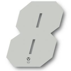N°8 Numero de plaque YCF Blanc - 108x105mm (vendu par 3)