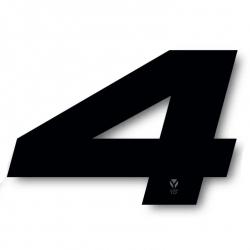 N°4 Numero de plaque YCF Noir - 117x172mm (vendu par 3)