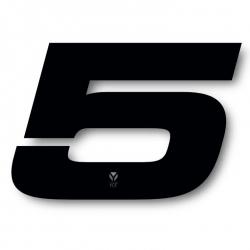 N°5 Numero de plaque YCF Noir - 117x172mm (vendu par 3)