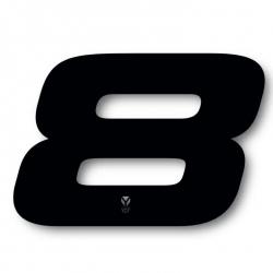 N°8 Numero de plaque YCF Noir - 117x172mm (vendu par 3)