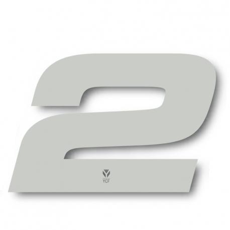 N°2 Numero de plaque YCF Blanc - 117x172mm (vendu par 3)
