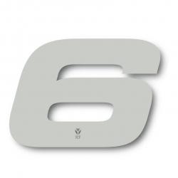 N°6 Numero de plaque YCF Blanc - 117x172mm (vendu par 3)