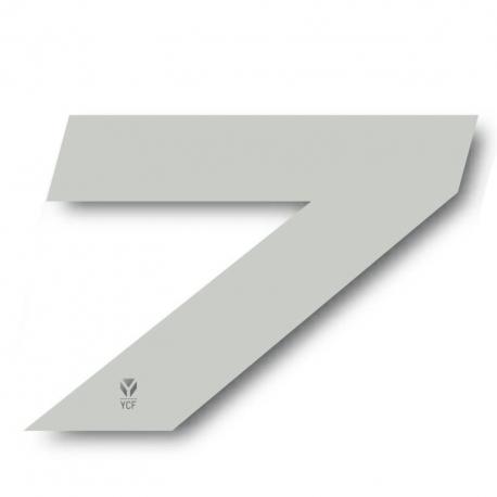 N°7 Numero de plaque YCF Blanc - 117x172mm (vendu par 3)