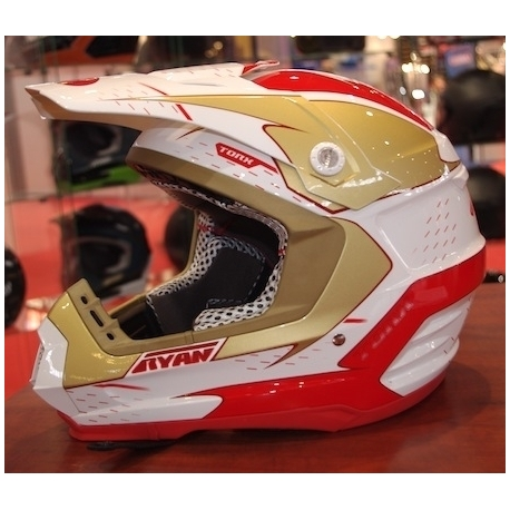 Casque cross ryan rouge blanc taille L