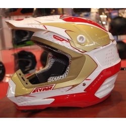 Casque cross ryan rouge blanc taille M