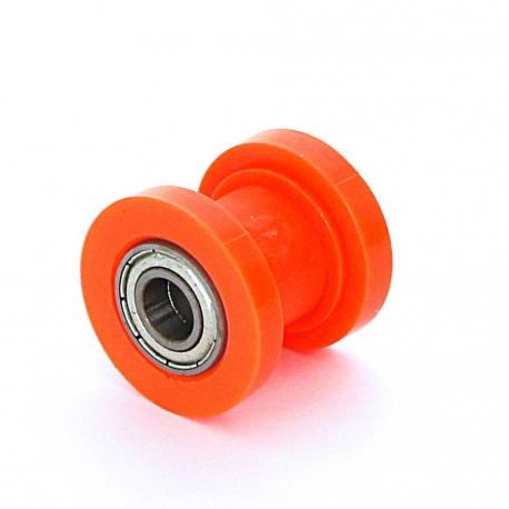 Roulette de chaine teflon guidée - ø8mm Orange