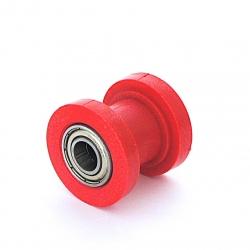 Roulette de chaine teflon guidée - ø10mm Rouge